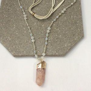 Rose quartz gold pendant necklace new